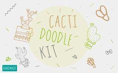 Cacti Doodle Kit by Buni Line on @creativemarket