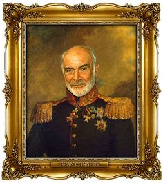 Sean Connery by Steve Payne, creator of the Replaceface series, where Steve took digital copies of George Dawe's paintings of Russian generals and added celebrities faces to the portrait using Photoshop.