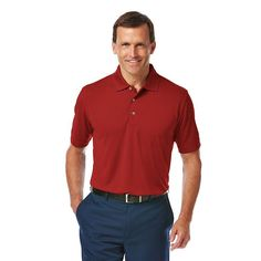 Men's Grand Slam Athletic-Fit Airflow Performance Golf Polo, Size: Large, Dark Red