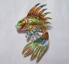 Vintage Chinese Fighting Fish Brooch by GretelsTreasures on Etsy