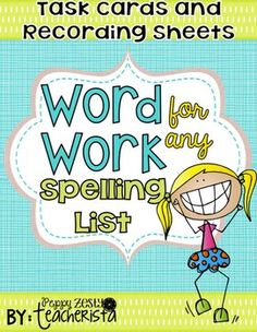 In my classroom, my students have individualized spelling lists. In order to not pull my hair out next year I have created this product that will work with ANY spelling list! Product contains task cards and recording sheets. For those that use bins, I recommend sticking the task card that matched the recording sheet into a bin. 21 task cards are included along with recording sheets for each task card.
