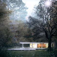 Farnsworth House with highly detailed, nice environment visualization by Javi Martinez. 3d Architectural Visualization, Architecture Visualization, 3d Visualization, 3d Architecture, Architecture Portfolio, Architecture Diagrams, Casa Farnsworth, Architectural Section, Architectural Presentation