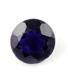 1 Pcs Natural Ink Blue Iolite Round Shape 8mm 1.60Cts Normal Cut Loose Gemstone