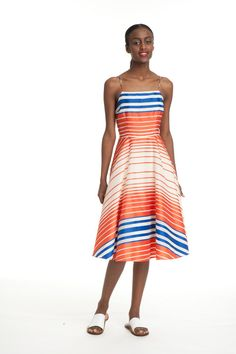 My intelligent style reco: Cami Frock Dress- Stripes In Orange, Blue & White | ABOOMBA