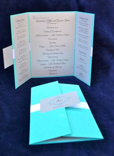Our normally immaculate dining room table was littered with Tiffany-blue wedding… Wedding Programs Wording, Wedding Program Examples, Modern Wedding Program, Wedding Program Fans, Wedding Fans, Plan My Wedding, Custom Wedding Invitations, Wedding Stationary, Wedding Guest Book