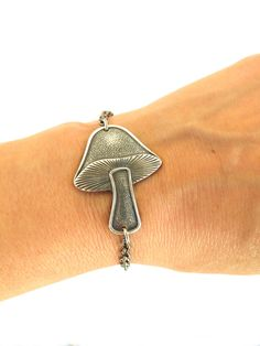 Steampunk Mushroom Bracelet Sterling Silver Ox by BellaMantra