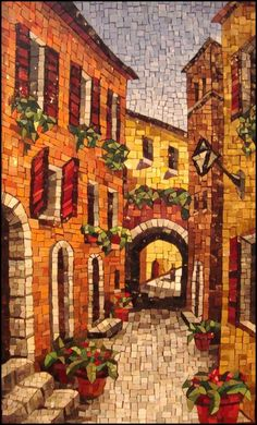 ''Umbria''  by Lynn Moor who specializes in vibrantly colored & richly textured mosaics made of handmade Italian Smalti, the same opaque glass material used in ancient mosaics  / http://www.lynnmoor.com/