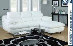 Sofa sectionnel en cuir blanc - Modèle I 8435WH