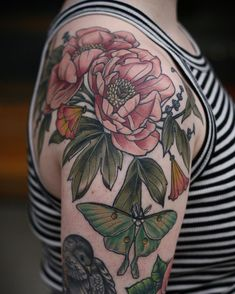 Peonies, luna moth, CA poppy, lavender by Kirsten Holliday