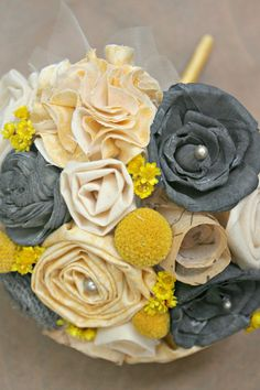 Handmade Yellow & Grey Alternative Wedding Bouquet - Hand Dyed Gray Sola Wood Rose, Yellow Wildflowers, Fabric Flowers, Script Parchment. $85.00, via Etsy.