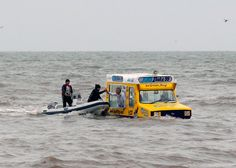food truck? how about boat truck.  This guy looks way to accommodating to be in trouble, amphibious food truck?????