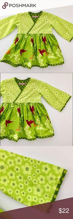 Jelly the Pug: Ayana Hummingbird Dress Jelly The Pug  Size: 2T  Ayana, Hummingbird dress with bell sleeves and a separate sash with matching pattern. This item is in very good condition with the  slightest wash wear around the collar. The color is very vibrant and the pattern is so pretty. Please refer to pictures for reference. The dress is so beautiful.   I will package perfectly and with love. From a non-smoking home. Jelly the Pug Dresses