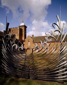 Decorative gate into the Stableyard at Dudmaston in Shropshire. ..rh