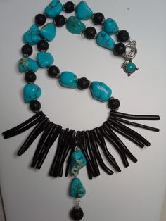 turquoise,  black coral, lava beads
