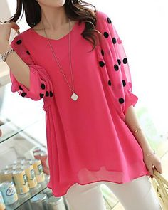 Stylish V-Neck 3/4 Sleeve Polka Dot Loose-Fitting Chiffon Blouse For Women