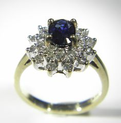 Sapphire and Diamond Cluster ring - Pawnbank Diamond Cluster Ring, Sale Items, Sapphire, Engagement Rings, Jewellery, Watches, Photography, Enagement Rings, Jewels