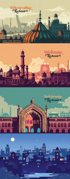 Lucknow is a city of contrasts, Caught between memories fo a glorious Nawabi past and the the present. The brief was to create an engaging campaign for the inguration of its biggest and only shopping center- 'Awad Center'. The One Awad Centre is designed Design Graphique, Art Graphique, City Illustration, Digital Illustration, Landscape Illustration, Graphisches Design, Graphic Design, Flat Design, Fantasy Magic