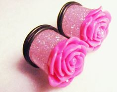 PAIR 9/16in / 14mm Plugs Hot Pink Rose Flower Floral Girly Acrylic Gauged Earrings for Stretched Ears (Single-Flared, O-Rings Included). $20.00, via Etsy.