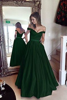 a2c32ab19bdd Harsuccting Off The Shoulder Beaded Satin Evening Prom Dress With Pocket  Emerald 16