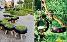 How to decorate a garden with waste material. Do you want to decorate your garden but don't know how? Terrace Garden, Garden Hose, Ideas Para Decorar Jardines, Funky Junk Interiors, Old Tires, Edible Garden, Recycled Materials, Amazing Gardens, Outdoor Gardens