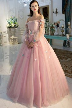 6bb011ef9f0 A Line Long Sleeve Pearl Pink Ball Gown Off the Shoulder Long Floral Fairy Prom  Dresses