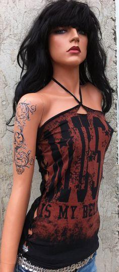 Music is my Religion Halter Top Shredded Shirt