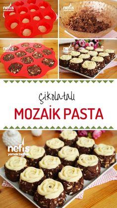 Videolu anlatım Aşırı Lezzetli: Çikolata Kaplı Mozaik Pasta (Videolu) Tarifi nasıl yapılır? 11.505 kişinin defterindeki bu tarifin videolu anlatımı ve deneyenlerin fotoğrafları burada. Yazar: Esra Atalar Birinci Eid Sweets, Turkish Recipes, Truffles, Donuts, Deserts, Muffin, Food And Drink, Breakfast, Pastries