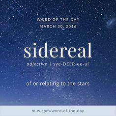 #WordOfTheDay: sidereal