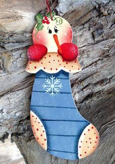 Snowman Stocking Ornament von CountryCharmers auf Etsy