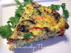 My broccoli quiche recipe has mushrooms, grilled onions, tomatoes, bacon, and cheese. It's colorful and delicious!