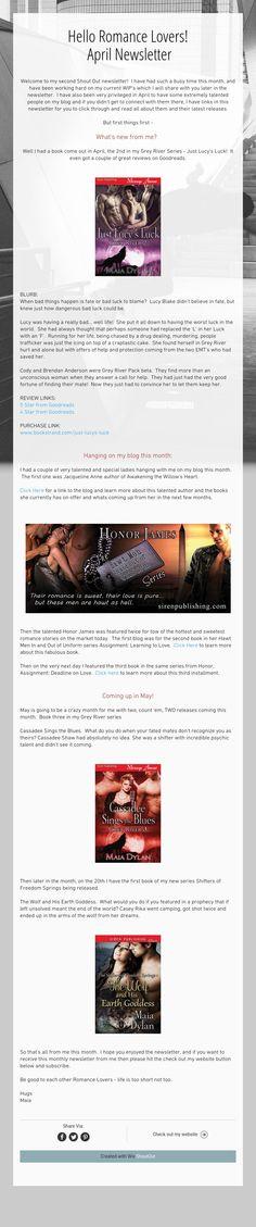 Hello Romance Lovers!April Newsletter