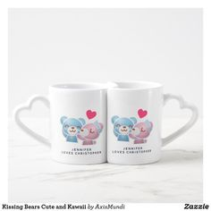 Shop Kissing Bears Cute and Kawaii Coffee Mug Set created by AxisMundi. Coffee Mug Sets, Mugs Set, Bear Valentines, Valentine Day Gifts, Craft Stick Crafts, Diy Crafts, Secret Valentine, Bachelorette Gifts, Sweetest Day