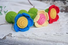 Organic teething toy Waldorf RATTLE Shower gift for babies Crochet FLOWER toy Gift for Baby girl on Etsy, $15.00