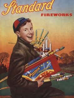 An poster sized print, approx mm) (other products available) - Boy with an armful of fireworks. - Image supplied by Mary Evans Prints Online - poster sized print mm) made in the UK Bonfire Night Guy Fawkes, Guy Fawkes Night, Vintage Advertisements, Vintage Ads, Vintage Posters, Retro Ads, Vintage Antiques, Vintage Style, Fine Art Prints