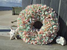 So cute! -Tropical Color Seersucker Rag Wreath