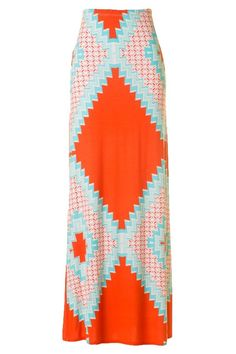 Skippin Town Maxi Skirt - Mint + Orange