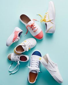 Give classic white sneakers a colorfulupgrade with a bit of fabric paint and some colorblocking.