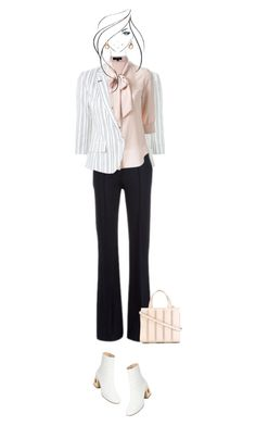 Office outfit: Black - White - Rose by downtownblues on Polyvore #officewear  #ankleboots  #blazer  #stripes  #pussybow
