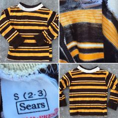 95c28b278c Vintage Long Sleeve Striped Tee Shirt Ringer T-Shirt 60s 70s Sears  Perma-Prest