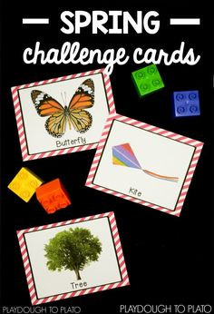 Part of a set of four seasons challenge cards that are perfect for STEM Centers or STEM boxes this spring! Spring Challenge, Lego Challenge, Challenge Cards, Early Finishers Activities, Math Activities For Kids, Spring Activities, Math Stem, Stem Science, Playdough To Plato