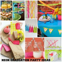 Headed For A Bright Future neon graduation party inspiration board