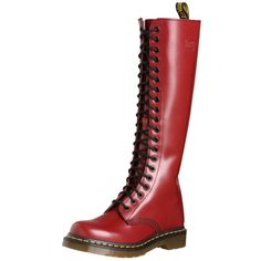 Red boots are only for the beautiful and daring. If you are a girl who likes to stand out in a crowd red boots were made for you. If you thought that only the Little Red Riding Hood, Red Sonya and Crazy Horse dancers could wear red boots,. Dr. Martens, Doc Martens Stiefel, Red Doc Martens, Doc Martens Style, Doc Martens Boots, Dm Boots, Flat Boots, Knee High Boots, Combat Boots
