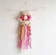 Weaving Art Wall Hanging - The POM POM Story / Woven / Handmade / Fancy Yarn / Fiber Arts