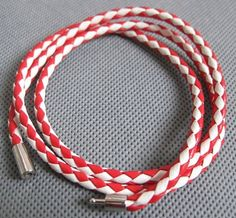 Shoply.com -Leather bracelet is weave for white and red color browne-RW. Only $3.00