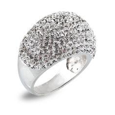 White thin swarovski ring $44