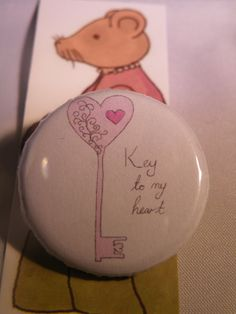 Key To My Heart Button Badge by LittlemouseLilly on Etsy, £1.00