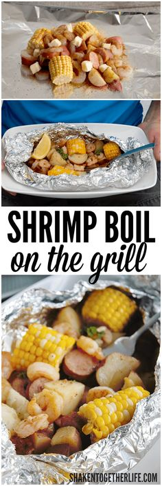 Shrimp boil on the grill! FL shrimp, sweet corn, smoked sausage and potatoes . - Shrimp boil on the grill! FL shrimp, sweet corn, smoked sausage and potatoes …… – Foil Pack - Shrimp Boil Foil, Seafood Boil, Seafood Recipes, Dinner Recipes, Cooking Recipes, Healthy Recipes, Crab Boil, Yummy Recipes, Dinner Ideas