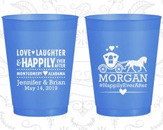 Love Laughter, Custom Frosted Plastic Cups, Fairy Tale Wedding, Princess Carriage, Blue Frosted Cups (552)