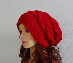 8930bc2345d Slouchy Womens Knit Hat red Beanie Womens fashion Winter Hat Beanie Outfit
