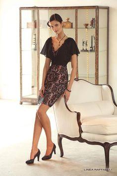 Linea Raffaelli - Linea Raffaelli 141-700-1-01: Black/Pink: 14 - Fab Frocks Online Boutique